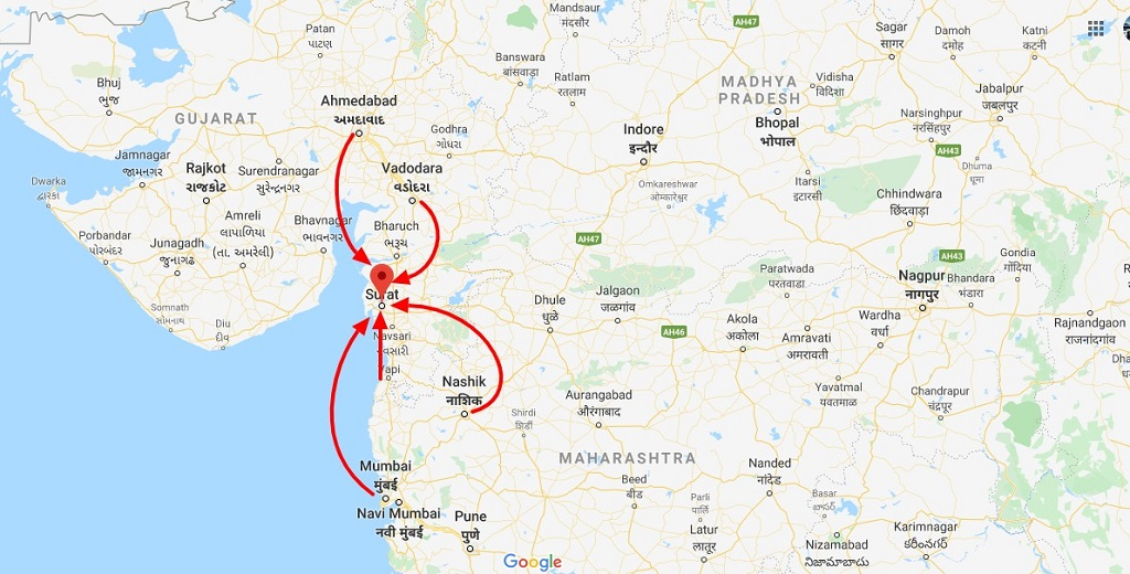 surat and other cities in google maps