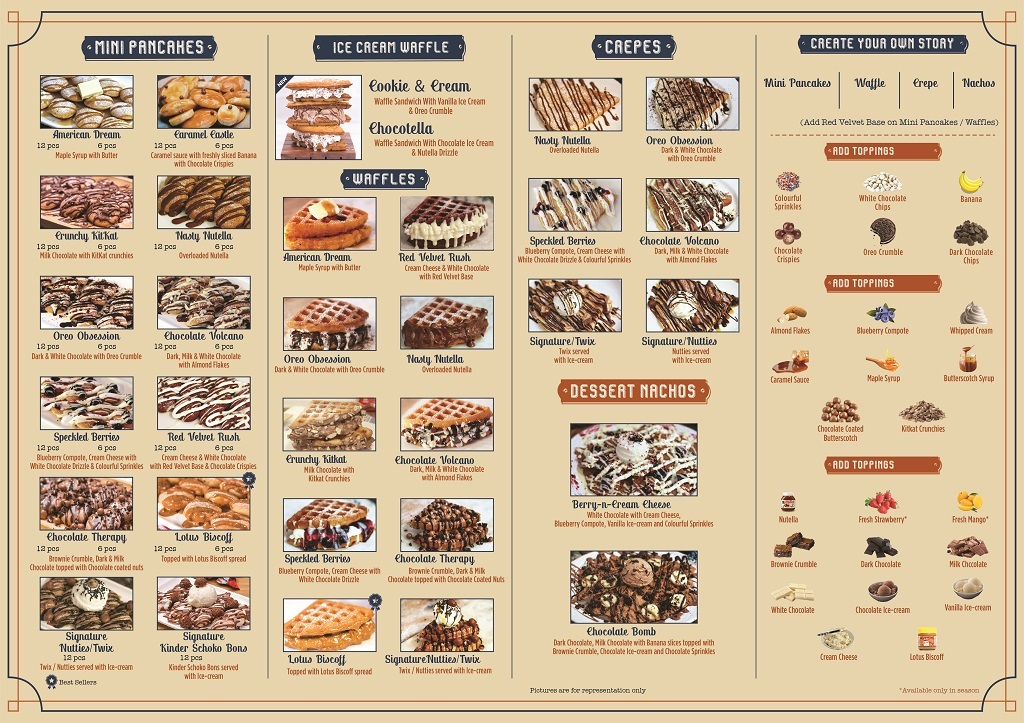 the pan cake story menu front side