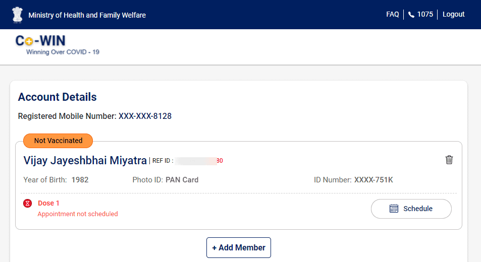 Co-WIN-Application account details